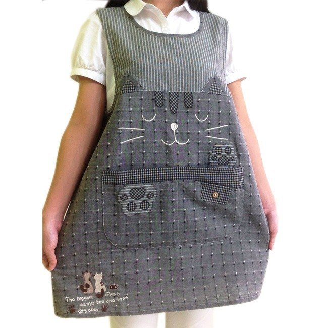 [BEAR BOY] and wind four pocket apron - beckoning cat - black