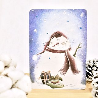 Snowman Jeep Cat (blue snow Version) Christmas card Christmas cards / postcards are hand-stamped envelope comes