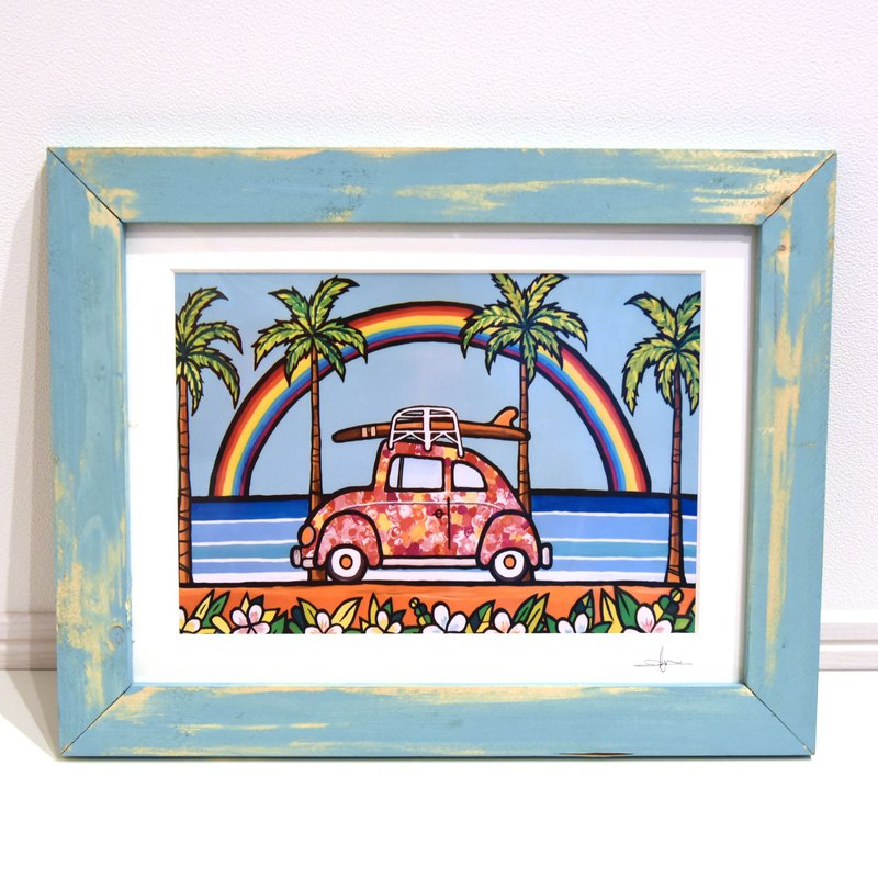 art wood frame painting antique hawaii colorful