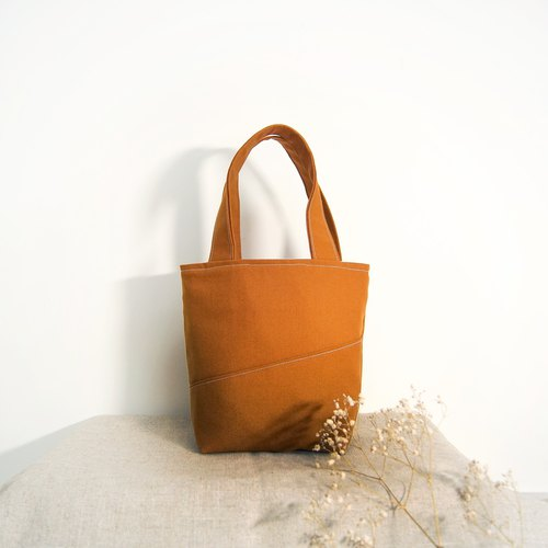 Handmade lightweight lunch bag - caramel brown