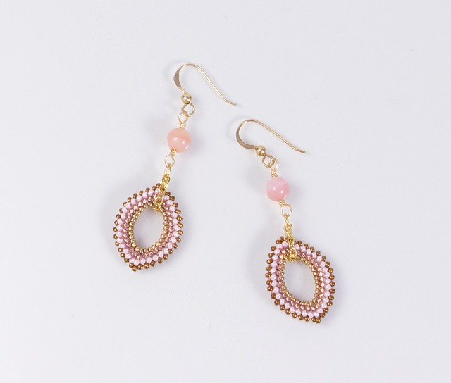 Pink opal earrings, beaded marquise component, 14K gold filled, 389