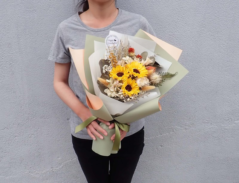 | Sparkling you | Sunflower. Hydrangea. Wheat ears. Rabbittail. Dry flowers. Graduation bouquet