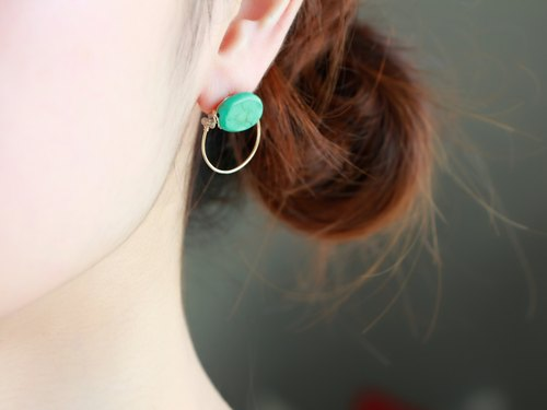 14 kgf - turquoise hoop pierced earrings