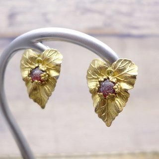 Ivy leaf motif, Brass and glass earrings, Deep red, Vintage, Antique