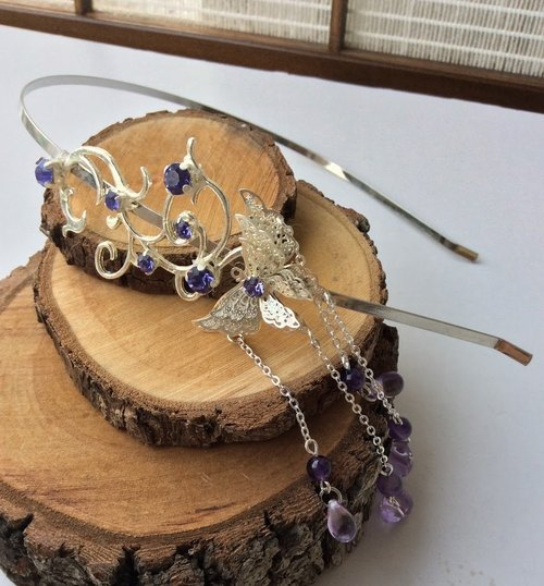Hand-made ~ meow moire diamond hair bands (purple)