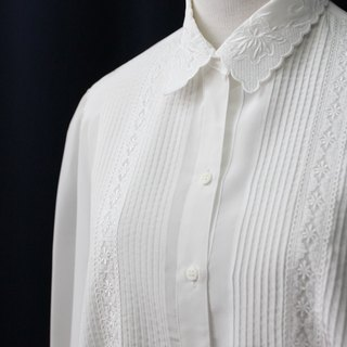 [RE0215T1763] retro forest department lace embroidery elegant white collar vintage shirt