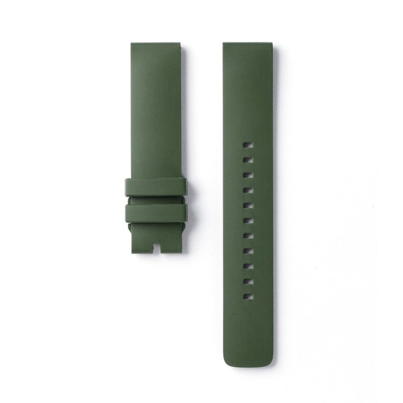 Olive green fluoro rubber strap 20mm (four-degree space watch 42mm)