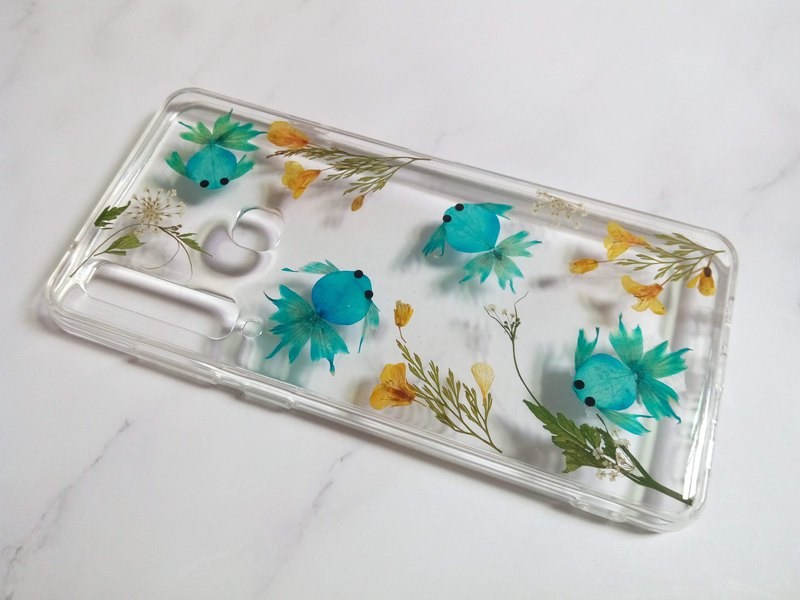 Handmade phone case, Pressed flowers phone case, Samsung Galaxy A9