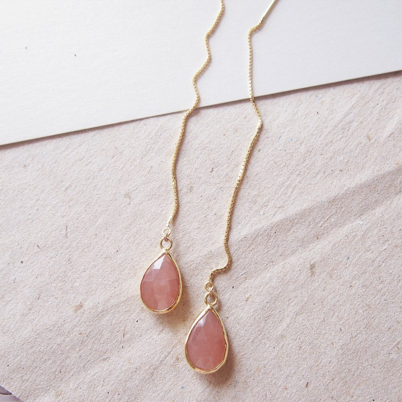 Pear Shape Dangle Sunstone Thread Earrings - 925 Silver | Plated with 18K Gold