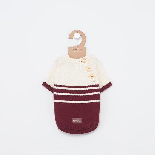 Tail and I】 【pet collar open collar striped sweater wine red rice