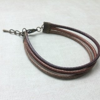 ♥ HY ♥ x handmade wax line bracelet plain simple three-wire rope wax-based coffee chain