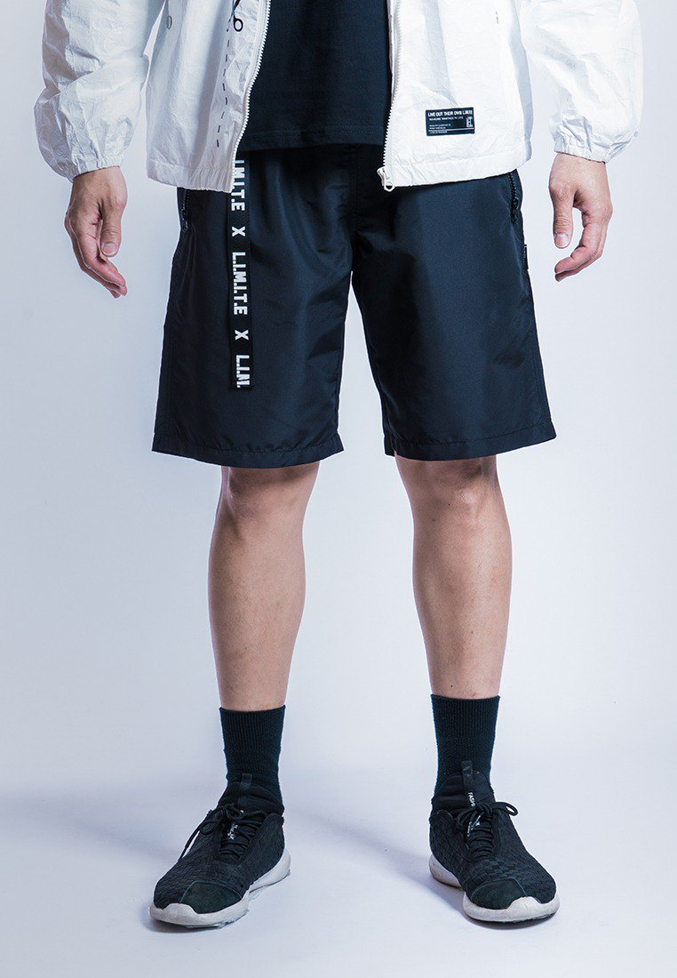 Men's Printed Tape with Zipper Shorts, Black