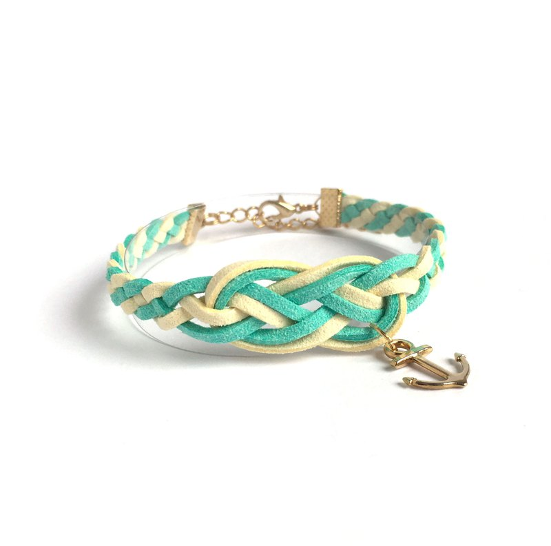 Handmade Braided Sailor Knot Bracelets Rose Gold Series-mint green limited