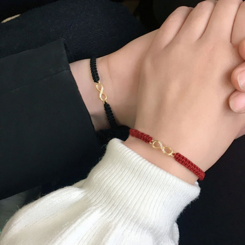 Trinity SpongeBob Small Red Rope Braided Bracelet Men and Women Couples Fashion Simple Transfer Hand Strap New Year Gift