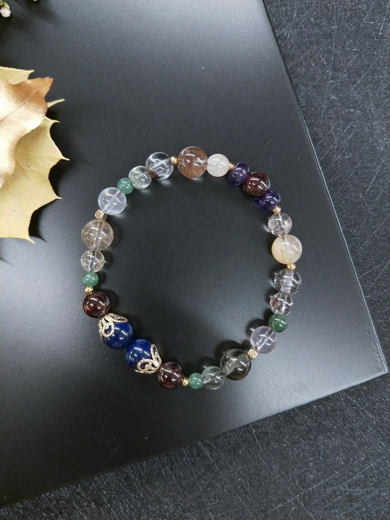 [Unique product] 14K gold bracelet with hair crystal*red garnet*amethyst * lapis lazuli