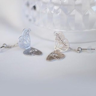 Flickering feather earrings (silver) - pairs -