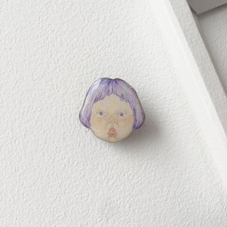 #19 SURPRISED Girl : Handmade Shrink Plastic Brooch