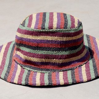 Ethnic hand-woven stitching cotton cap / knitted hat / hat / visor / hat - colored stripes (limit one)