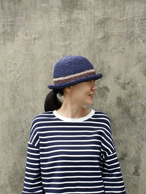 Straw hat - Navy blue
