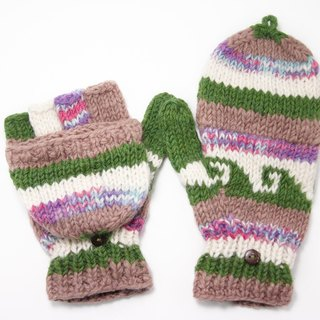 Valentine's Day gift limit a knitted pure wool warm gloves / 2ways Gloves / Toe gloves / bristles gloves / knitted gloves - spell color gradient color grassland national totem