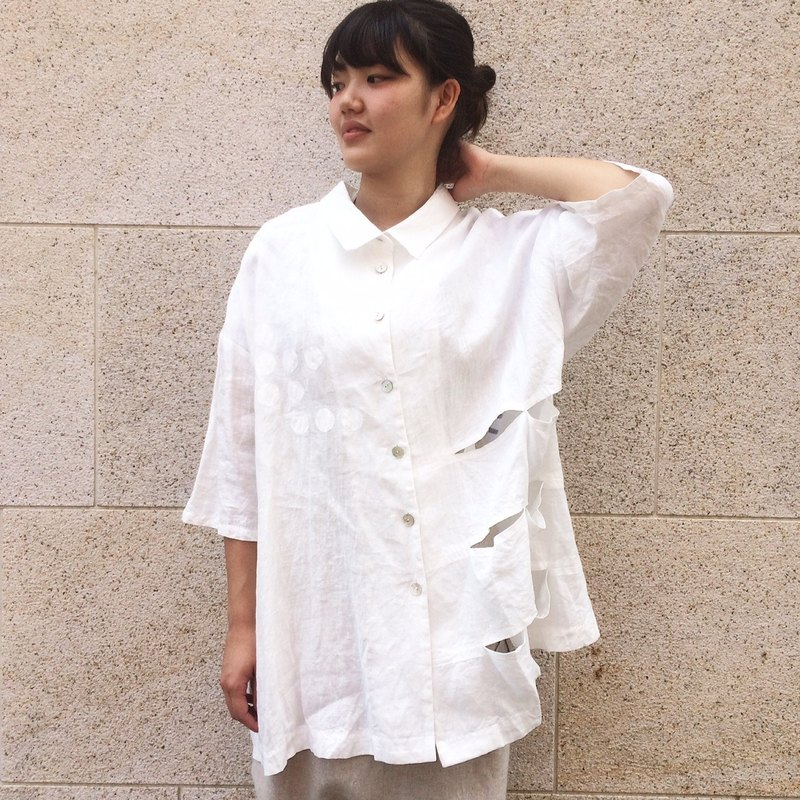 白とボーダー/リネン wind/white/linen/shirts/dot