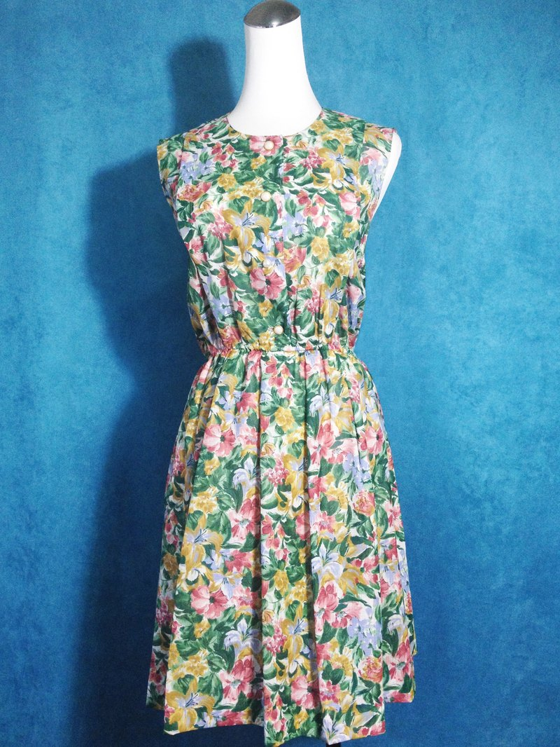Ping-pong vintage [vintage dress / flower painting style vintage sleeveless dress] abroad back VINTAGE