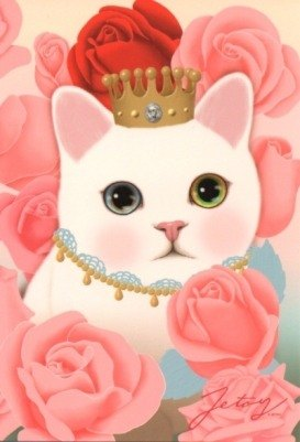Jetoy, choo choo sweet cat flower postcard (J1210206)
