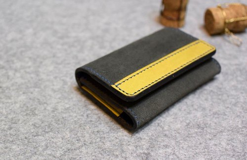 US YOURS handmade leather suede leather mix and match the horizontal length scale large-capacity business card holder (can hold one hundred) + mustard yellow gray suede leather