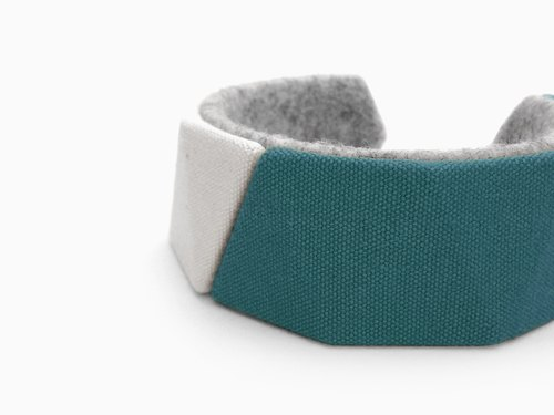 Unique canvas bracelet, Kawaii delta bangle, 3D print, 3D printing, 3D printed, Gift for women, felt natural unbleached 【Turquoise】