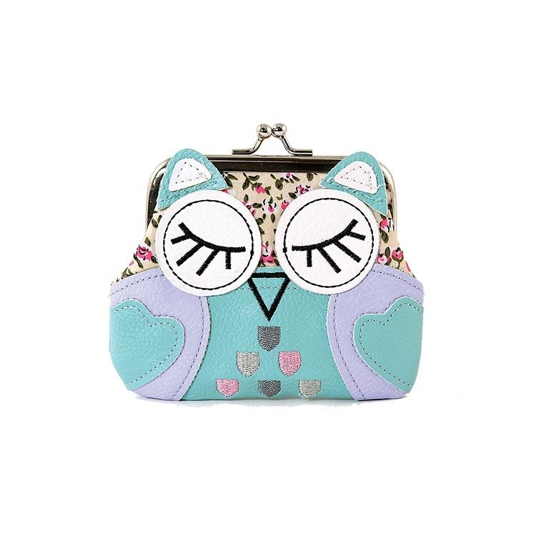 Sleepyville Critters - Sleeping Owl Kisslock Coin Purse - blue color