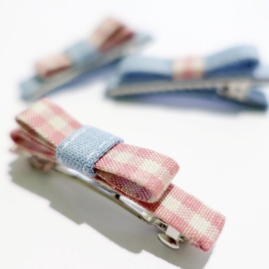 Mom Baby pink plaid cowboy style hairpins - a group of three (only one)