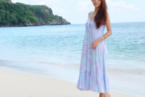 2016 New! Handmade! Uneven dyed ribbon ruffle dress <lavender mint>