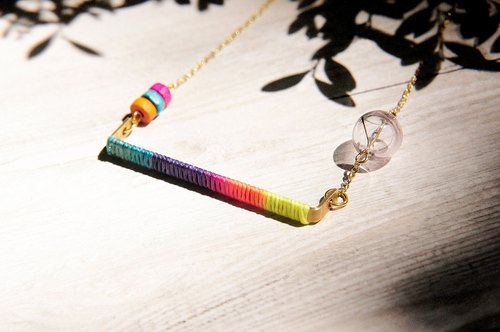 Valentine's Day gift / simple sense / brass French wood glass ball chain necklace clavicle short chain long chain - rainbow gradient color silk waxed thread