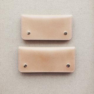 Couple long clip wallet original color Italy imported vegetable tanned leather handmade leather design customized