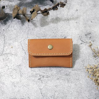 Small orange tanned leather magnet buckle purse / coin bag
