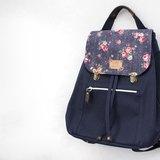 日本8號帆布系列~深藍玫瑰 束口後背包/側背包/斜背包/手提包(四種背法)