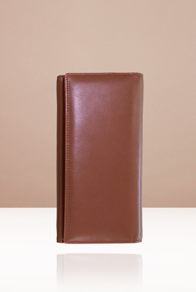 NEVER MIND-wallet Neutral Long Clip - Cowhide Straight Line Leather - FUTRA - Caramel Brown