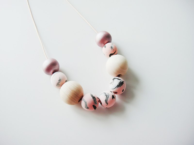 Wooden & Clay Marble Pink & Black Necklace-15