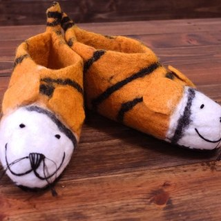 【Grooving the beats】Felt Tiger Sippers / Animal Slippers / Felted Shoes / Wool Slippers / House Shoes / Indoor shoes(Tiger)
