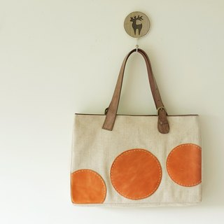 Little Sun Sew leather shoulder bag burlap half circle big pop style Italian imports of cattle peel the orange M + m + coffee