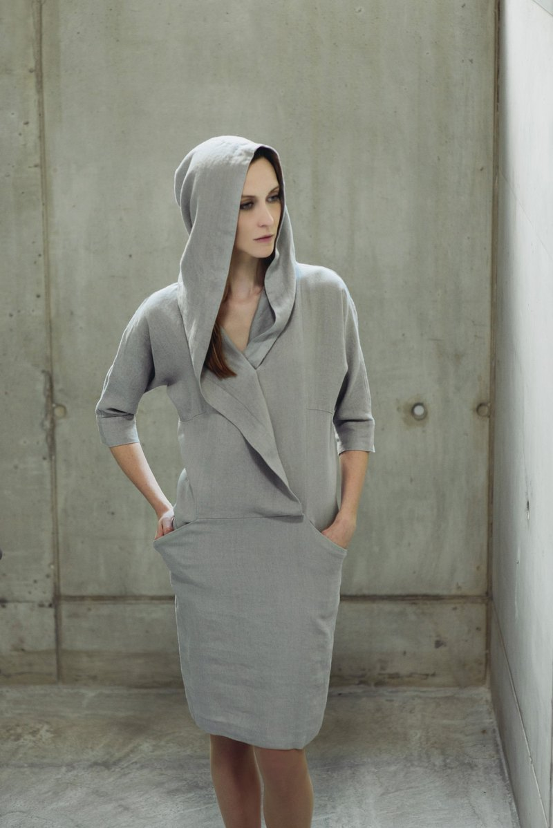 Linen Hooded Summer Dress Motumo 14S11