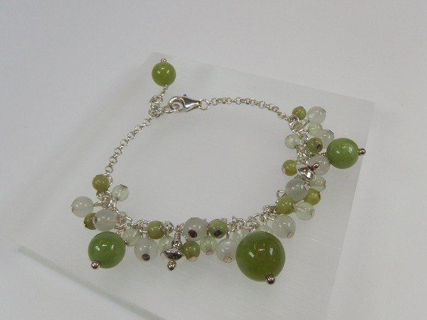 """Grass"" - Natural olivine + prehnite + Moonstone Silver Bracelet Hong Kong original design"