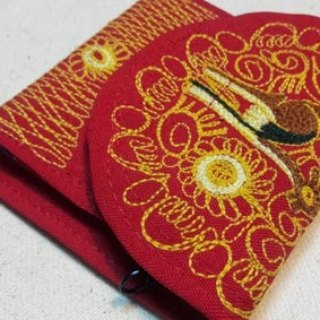 Peruvian alpaca handmade embroidery wallet / purse - red