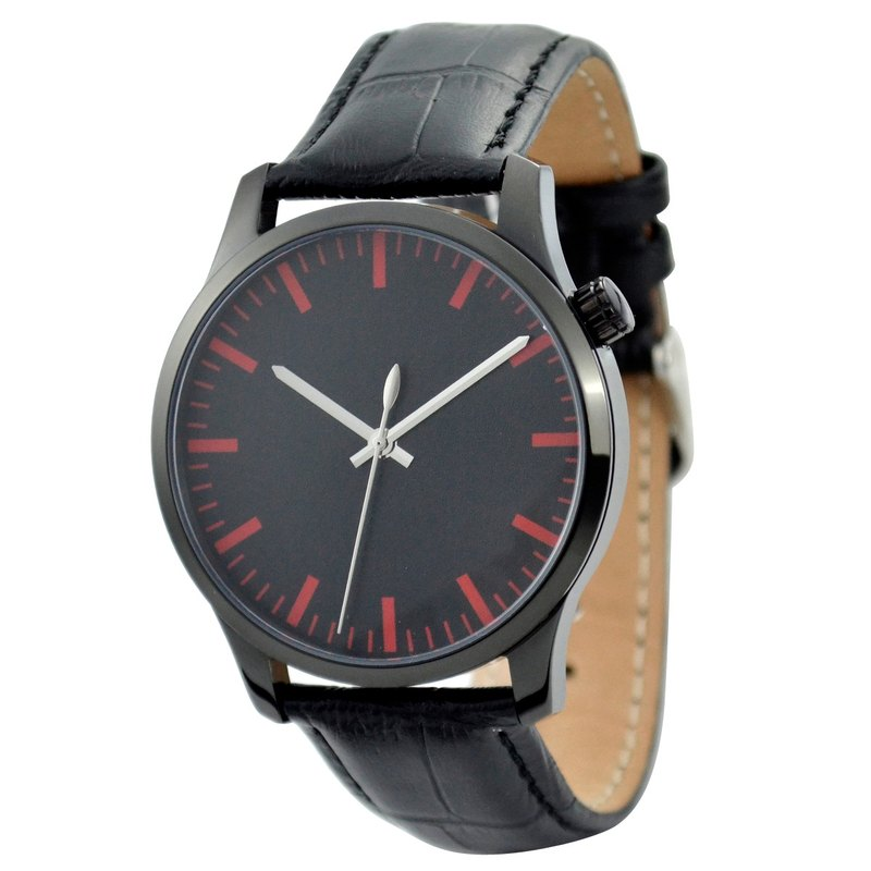 Men's Simple Watch Black Faced Stripe (Red) Black Shell - Global Free Shipping