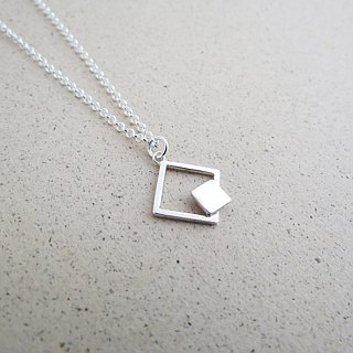 Nude - square double geometry (925 silver necklace) - C percent handmade jewelry