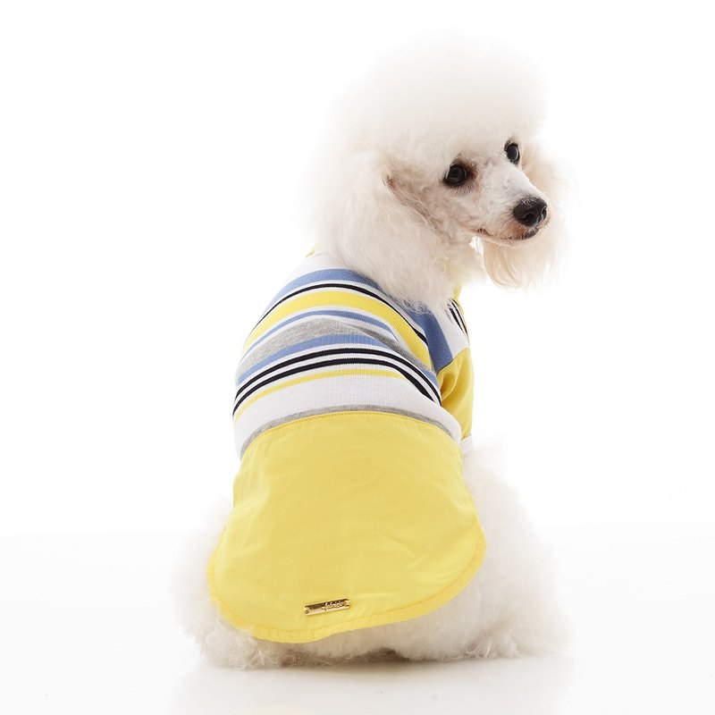 Striped stitching plain color shirt pet clothes
