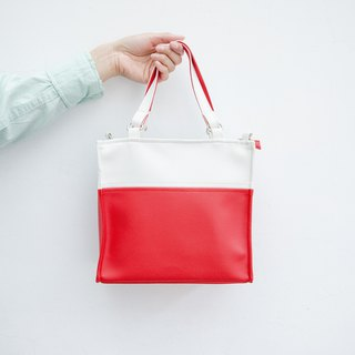 Paper bag shape color matching bag portable shoulder dual-use white X red