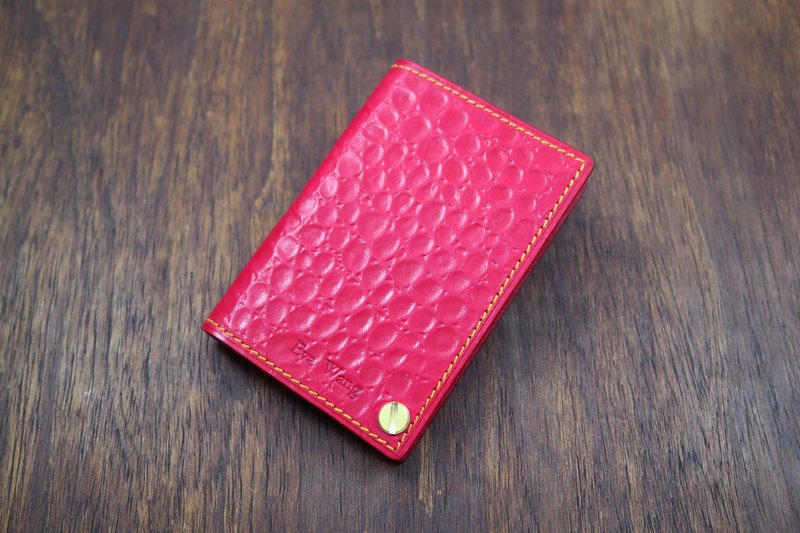APEE leather manual ~ portable card holder ~ bubble pattern ~ peach red