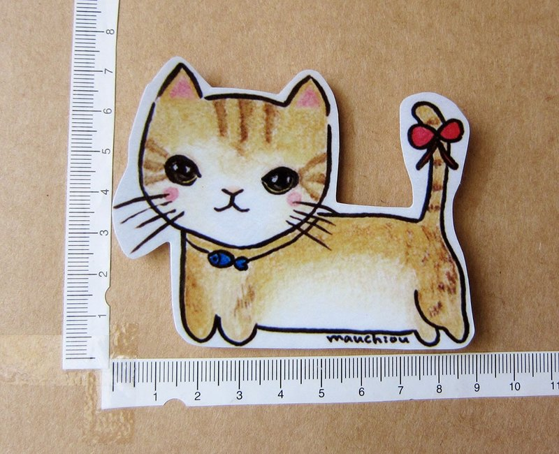 Hand-painted illustration style completely waterproof sticker yellow spotted tail bow cat