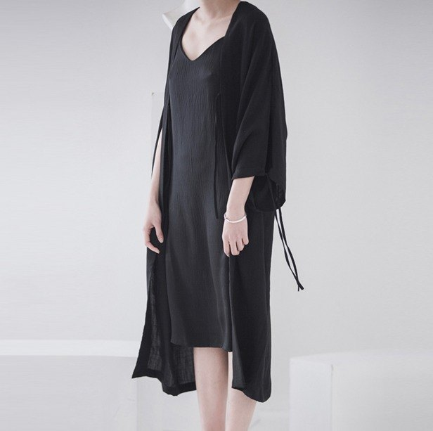 Black beauty explosion recommended lace drape Ma Japanese style kimono cardigan spring and summer long coat loose wild